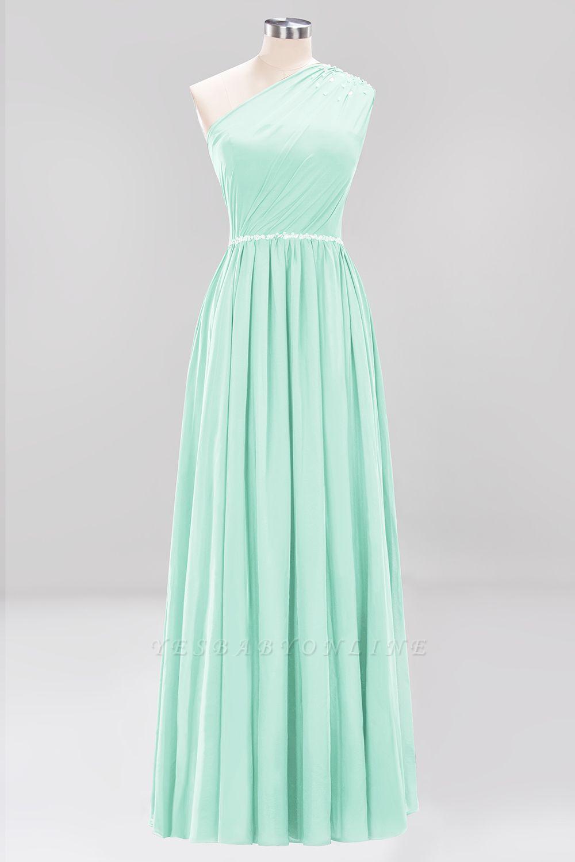 Fashion A-Line One-Shoulder Bridesmaid Dresses | Chiffon Sleeveless Beaded Wedding Party Dresses