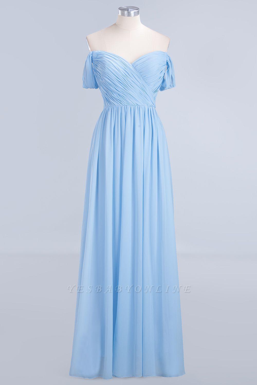 A-Line Straps Sweetheart Sleeveless Floor-Length  Bridesmaid Dress with Ruffles