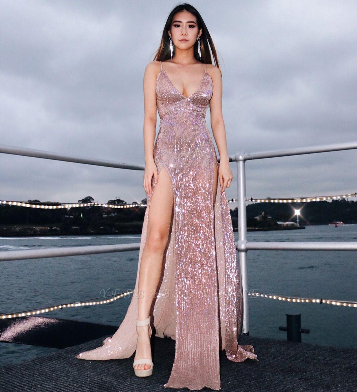 Sexy V-Neck Spaghetti Straps Sheath Front Split Prom Dress