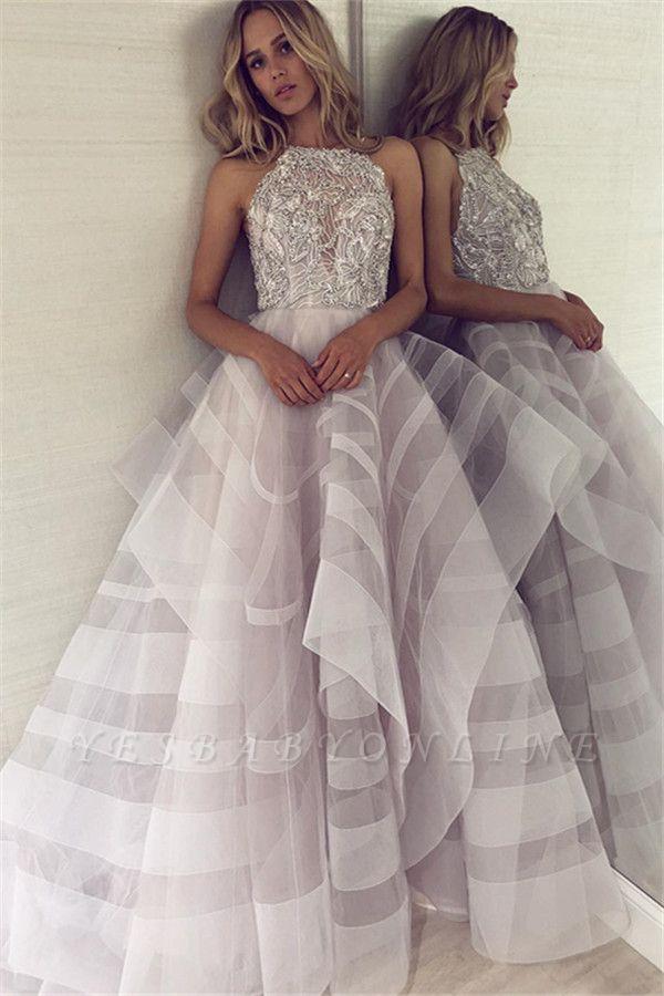 Charming Halter Sleeveless Appliques A-Line Floor-Length Prom Dress
