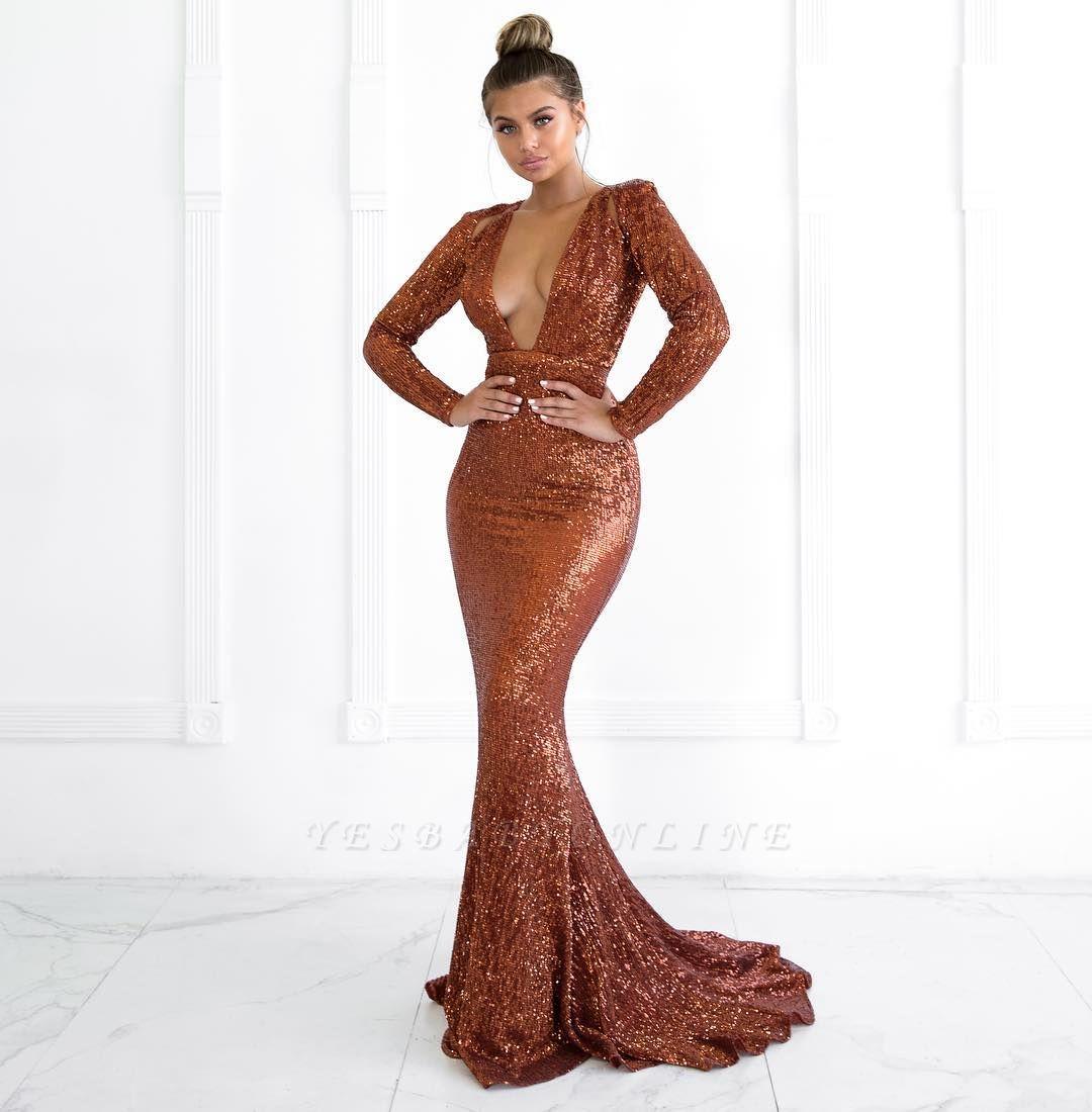 Sexy Deep V-Neck Long Sleeves Mermaid Prom Dress