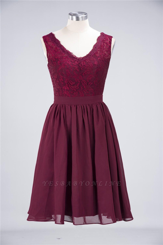 A-Line V-Neck Sleeveless Knee-Length  Lace Bridesmaid Dress with Ruffles