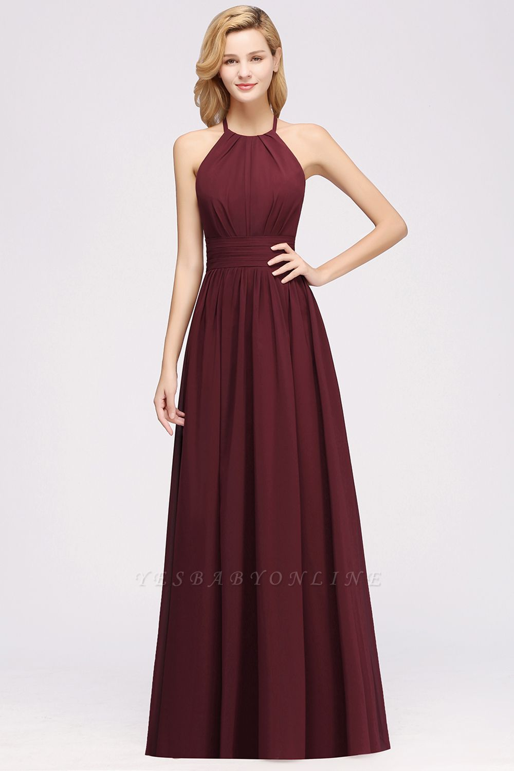 Simple A-Line Chiffon Bridesmaid Dresses | Halter Ruched Hollow Back Maid of The Honor Dresses
