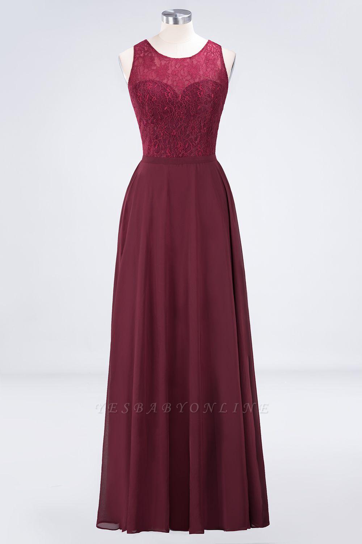 A-Line Jewel Sleeveless Hollowout Floor-Length  Lace Bridesmaid Dress
