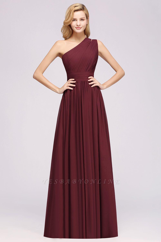 Elegant A-Line Burgundy One-Shoulder Sleeveless Ruffles Floor-Length  Bridesmaid Dresses