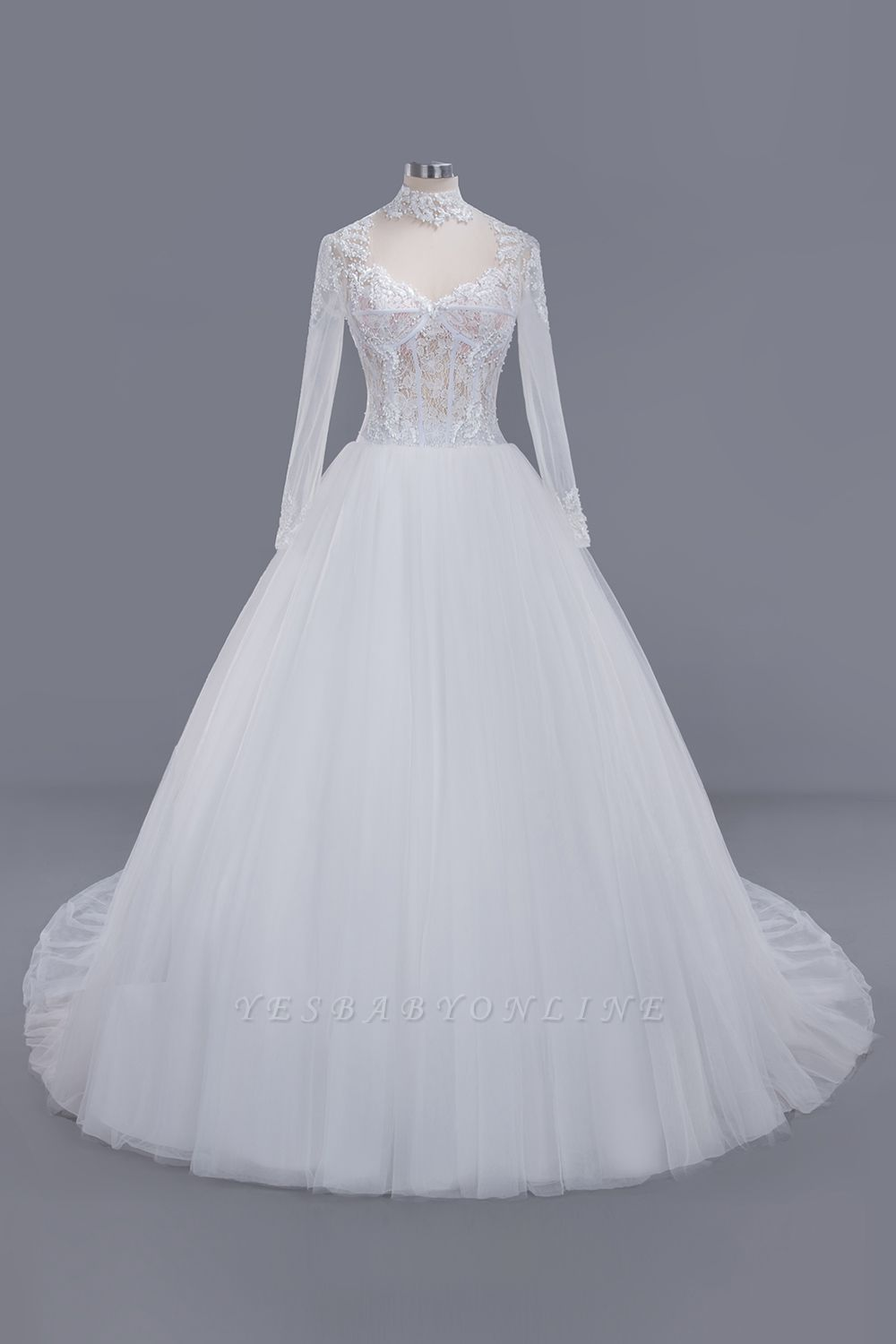Glamorous Ball Gown High-Neck Long-Sleeves Tulle Lace Wedding Dress