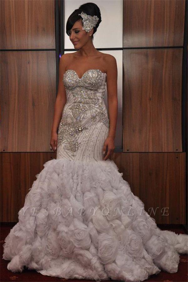 Unique Strapless Sleeveless Sequins Appliques Mermaid Prom Dress
