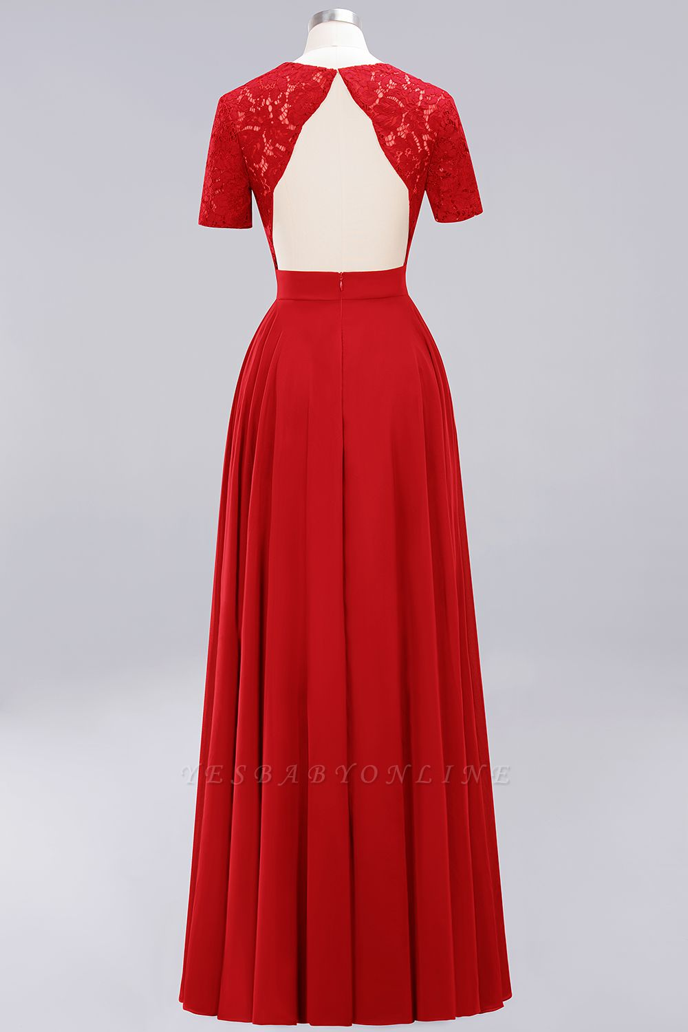 A-Line Chiffon Bridesmaid Dresses | Sweetheart Cap Sleeves Lace Wedding Party Dresses