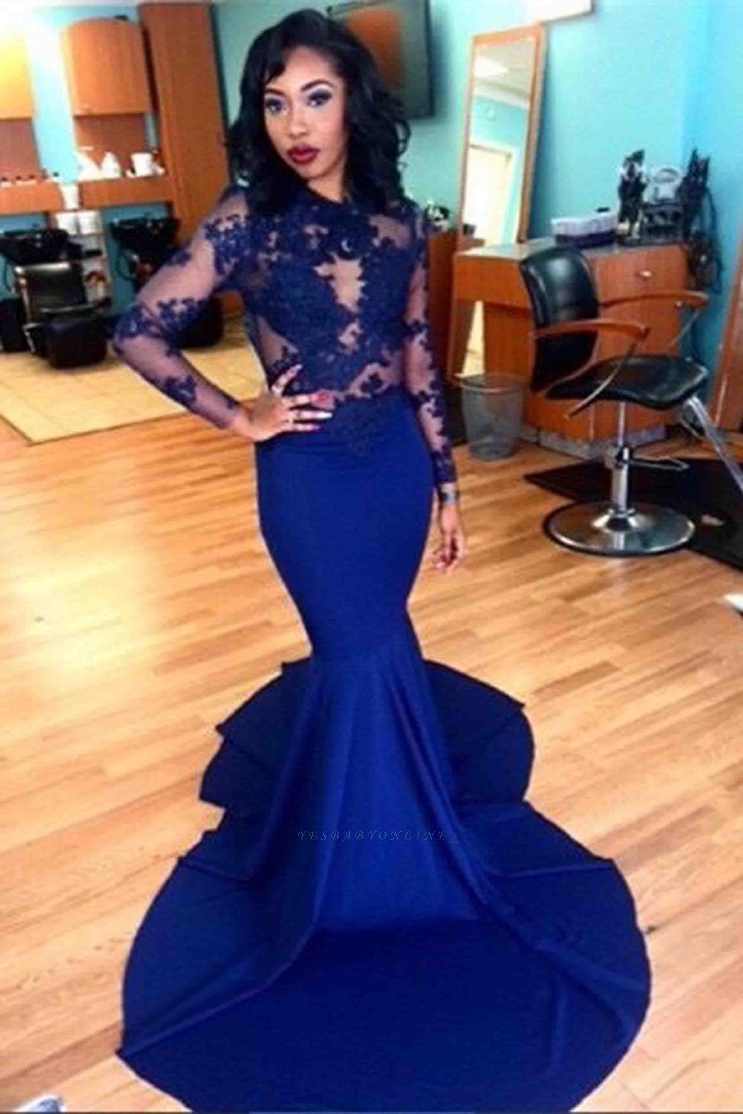 Royal-Blue Long Sheer Lace Long-Sleeves Mermaid Prom Dresses