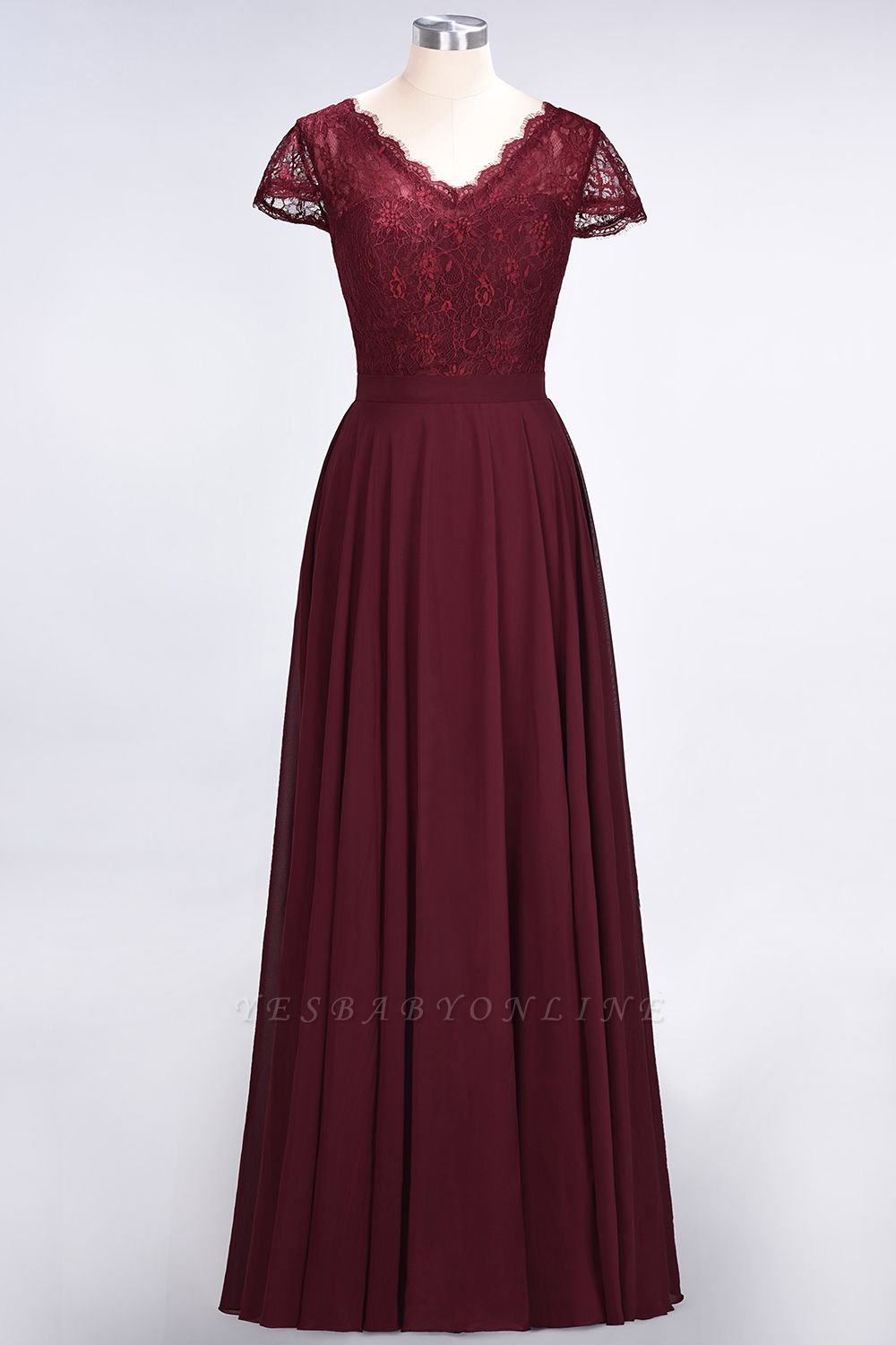 A-Line V-Neck Cap-Sleeves Floor-Length  Lace Bridesmaid Dress