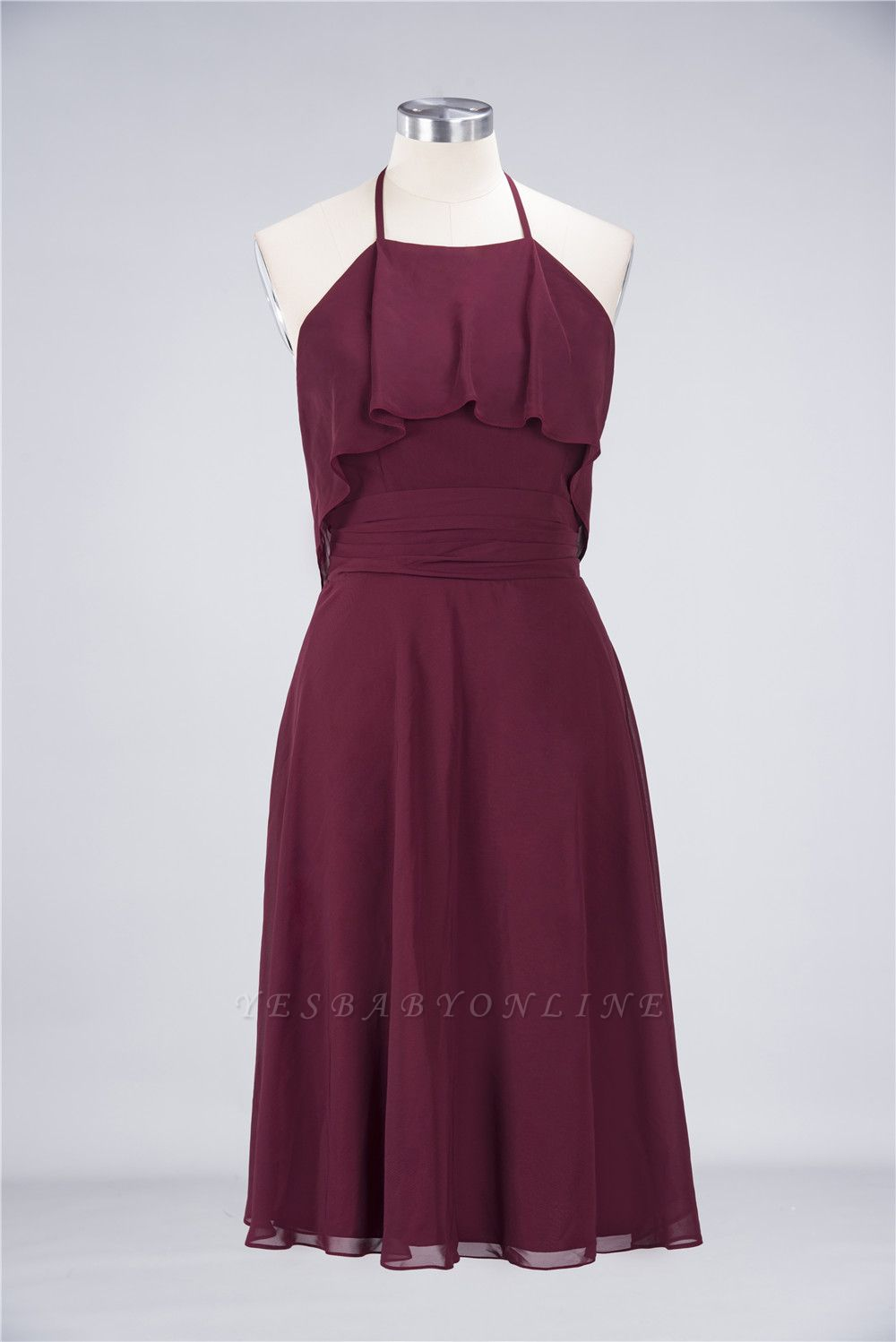 A-Line Halter Sleeveless Knee-Length  Bridesmaid Dress with Ruffles