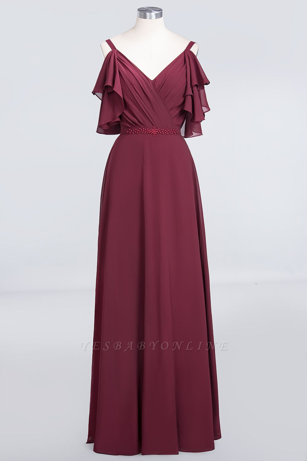 A-Line V-Neck Straps Sleeveless Ruffles Floor-Length  Bridesmaid Dress with Pearls
