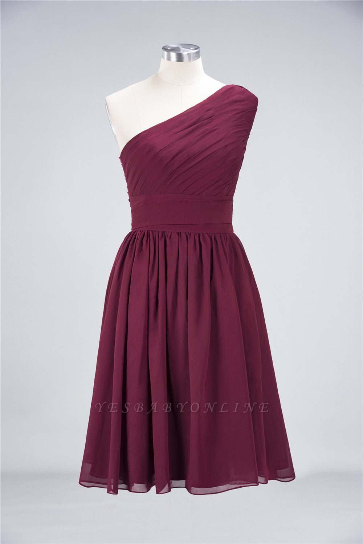 A-Line One-Shoulder Sleeveless Knee-Length  Bridesmaid Dress with Ruffles