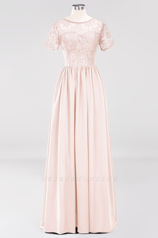 A-line  Lace Jewel Short-Sleeves Floor-length Bridesmaid Dress