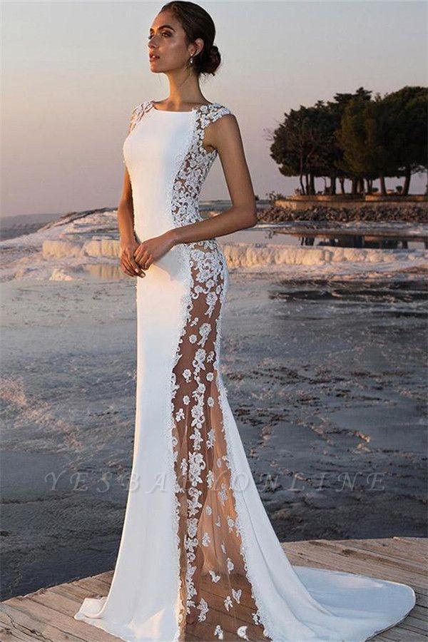 Stylish Straps Sleeveless Round Neck Appliques Mermaid Prom Dress
