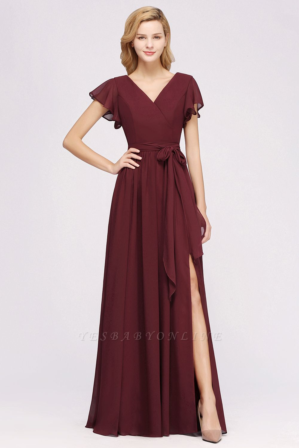 elegant A-line  V-Neck Short-Sleeves Floor-Length Bridesmaid Dresses with Bow Sash