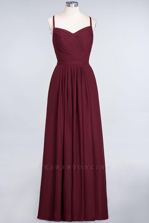 A-Line Spaghetti-Straps Sweetheart Sleeveless Floor-Length  Bridesmaid Dress with Ruffles