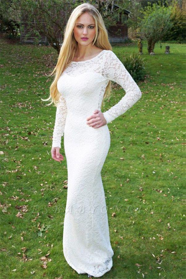 Stylish Round Neck Long Sleeves Appliques Floor-Length Prom Dress