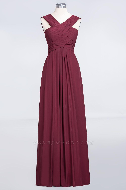 A-Line V-Neck Straps Sleeveless Floor-Length  Bridesmaid Dress with Ruffles