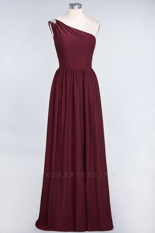A-Line One-Shoulder Sleeveless Ruffles Floor-Length  Bridesmaid Dress with Beadings