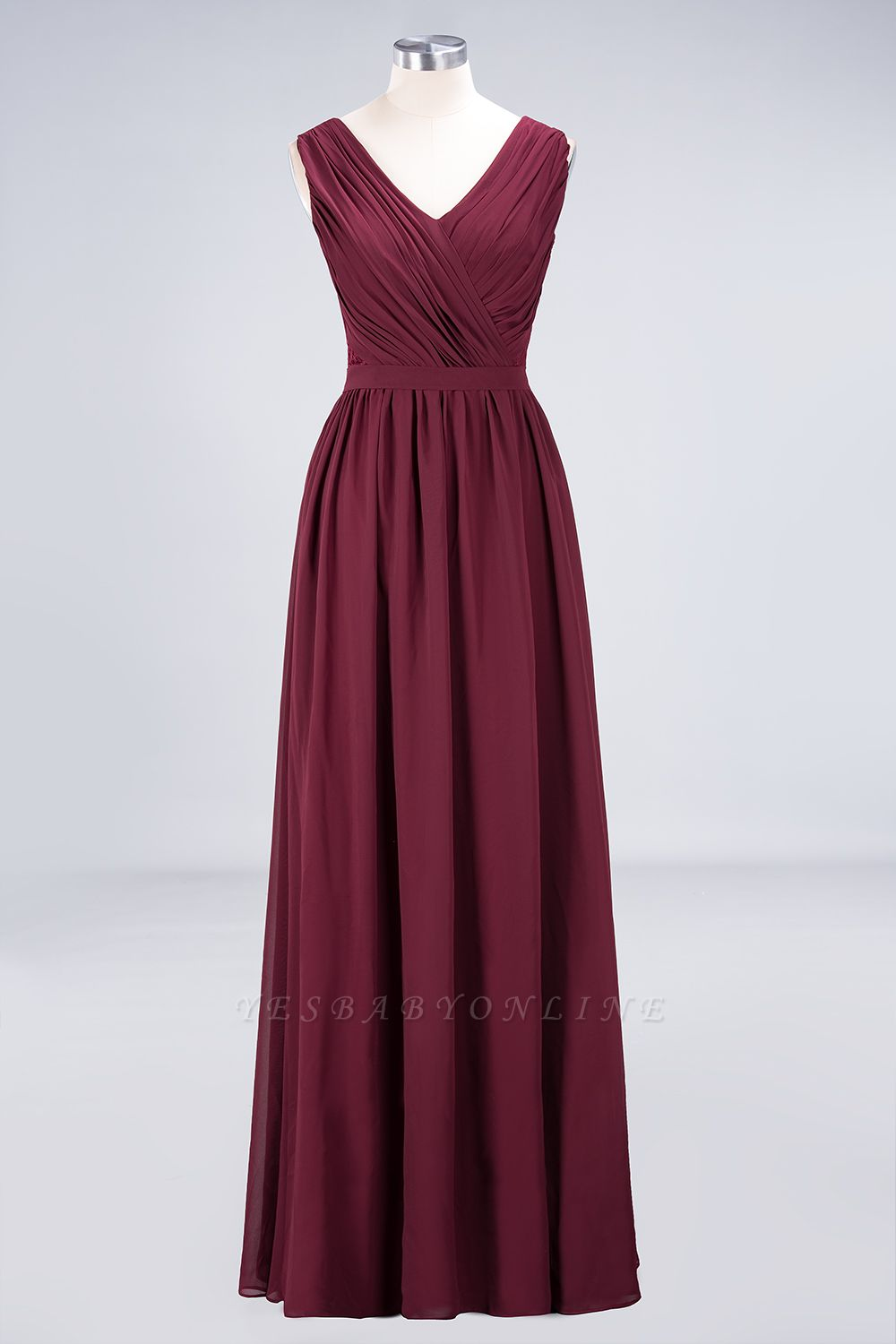 A-Line V-Neck Sleeveless Floor-Length  Lace Bridesmaid Dress with Ruffles