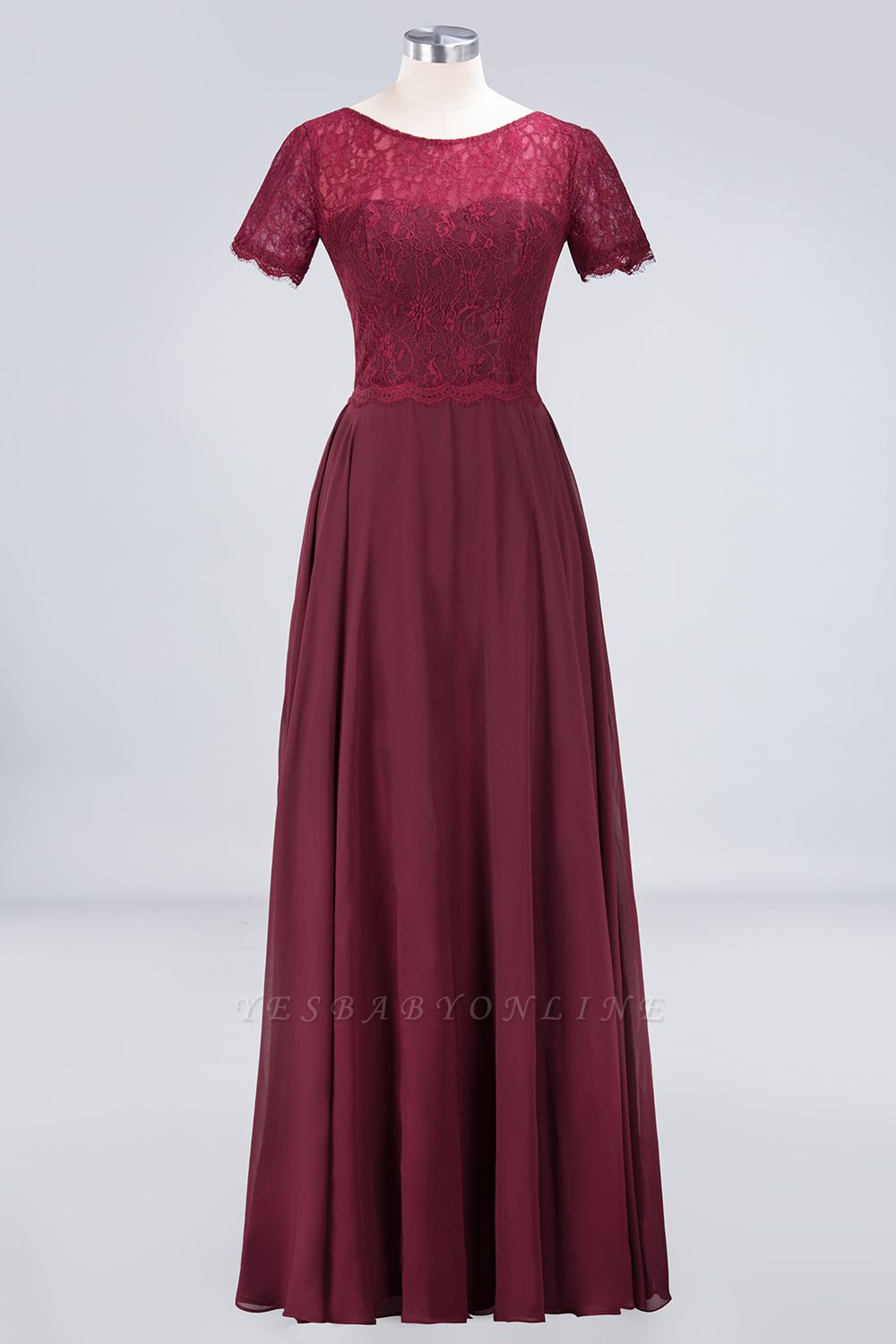 A-Line Round-Neck Short-Sleeves Floor-Length  Lace Bridesmaid Dress