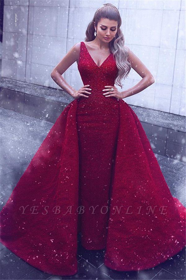 Stylish V-Neck Straps Sleeveless Ball Gown Prom Dress