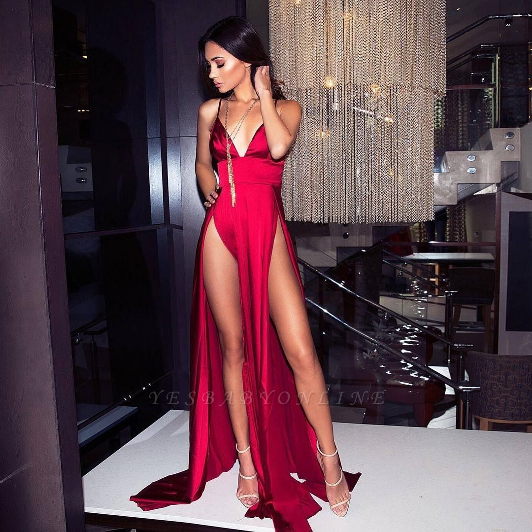 Sexy V-Neck Spaghetti Straps A-Line Front Split Prom Dress