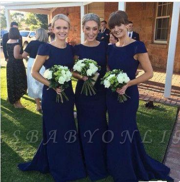 Fashion Short Sleeves Royal Blue Mermaid Floor-Length Bridesmaid Dress