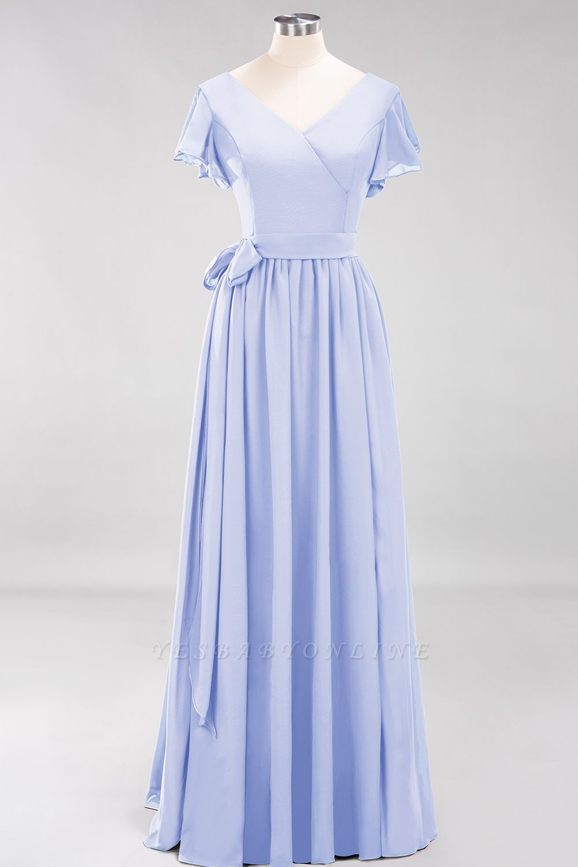 elegant A-line  V-Neck Short-Sleeves Floor-Length Bridesmaid Dresses with Bow Sash