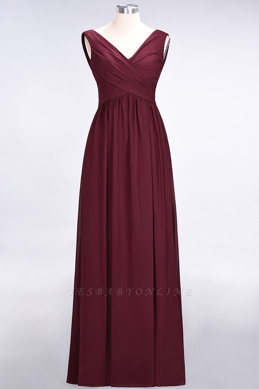 A-Line Straps V-Neck Sleeveless Floor-Length  Bridesmaid Dress with Ruffles