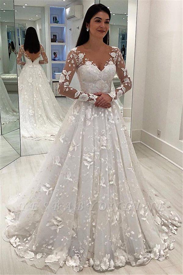 Stunning Appliques V-Neck A-Line Long Sleeves Wedding Dress