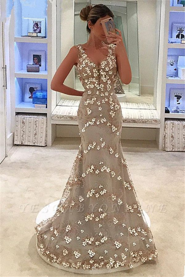 Elegant Sleeveless Straps Appliques V-Neck Mermaid Floor-Length Prom Dress