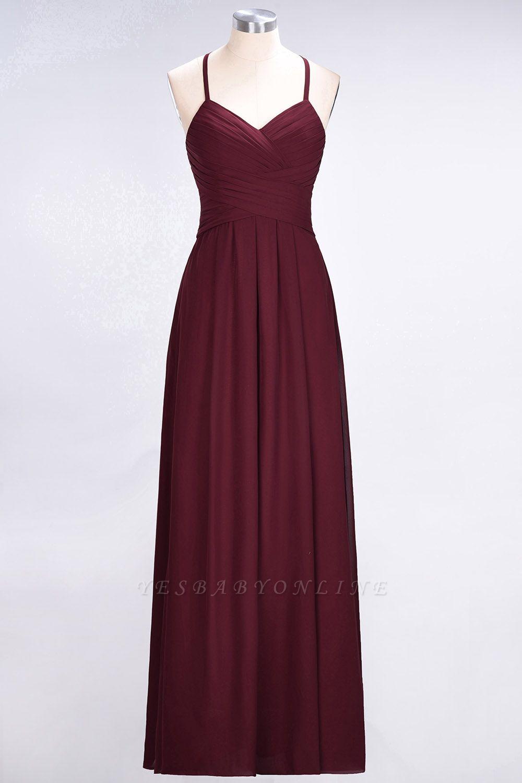 A-Line Halter V-Neck Sleeveless Floor-Length  Bridesmaid Dress with Ruffles