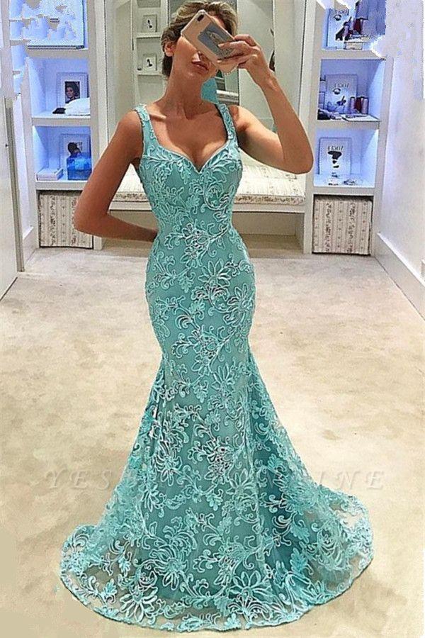 Fashion Straps Sleeveless Appliques Mermaid Floor-Length Prom Dress