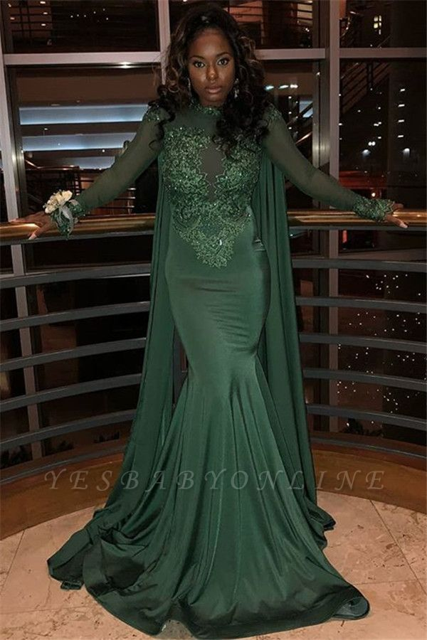 Stylish Round Neck Long Sleeves Appliques Mermaid Prom Dress BC0969