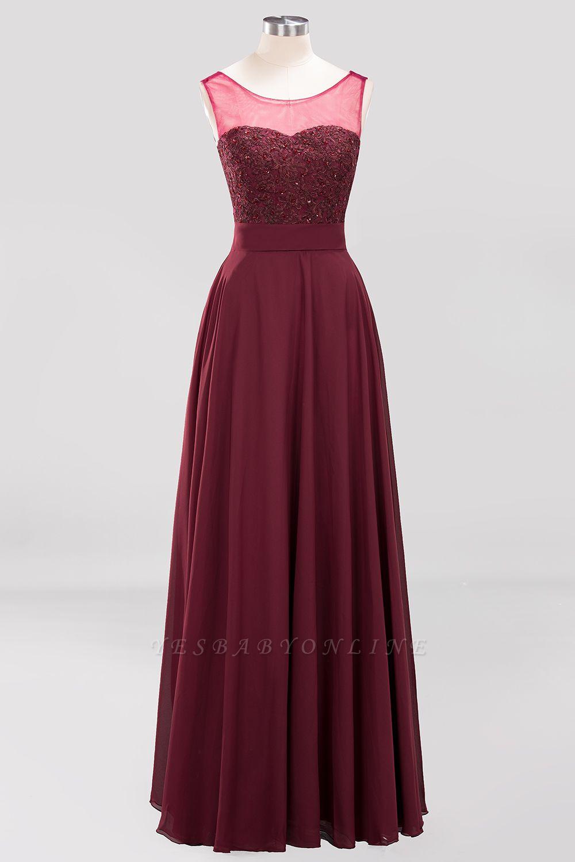 A-Line   Lace Beadings Jewel Sleeveless Floor-Length Bridesmaid Dresses with Sash