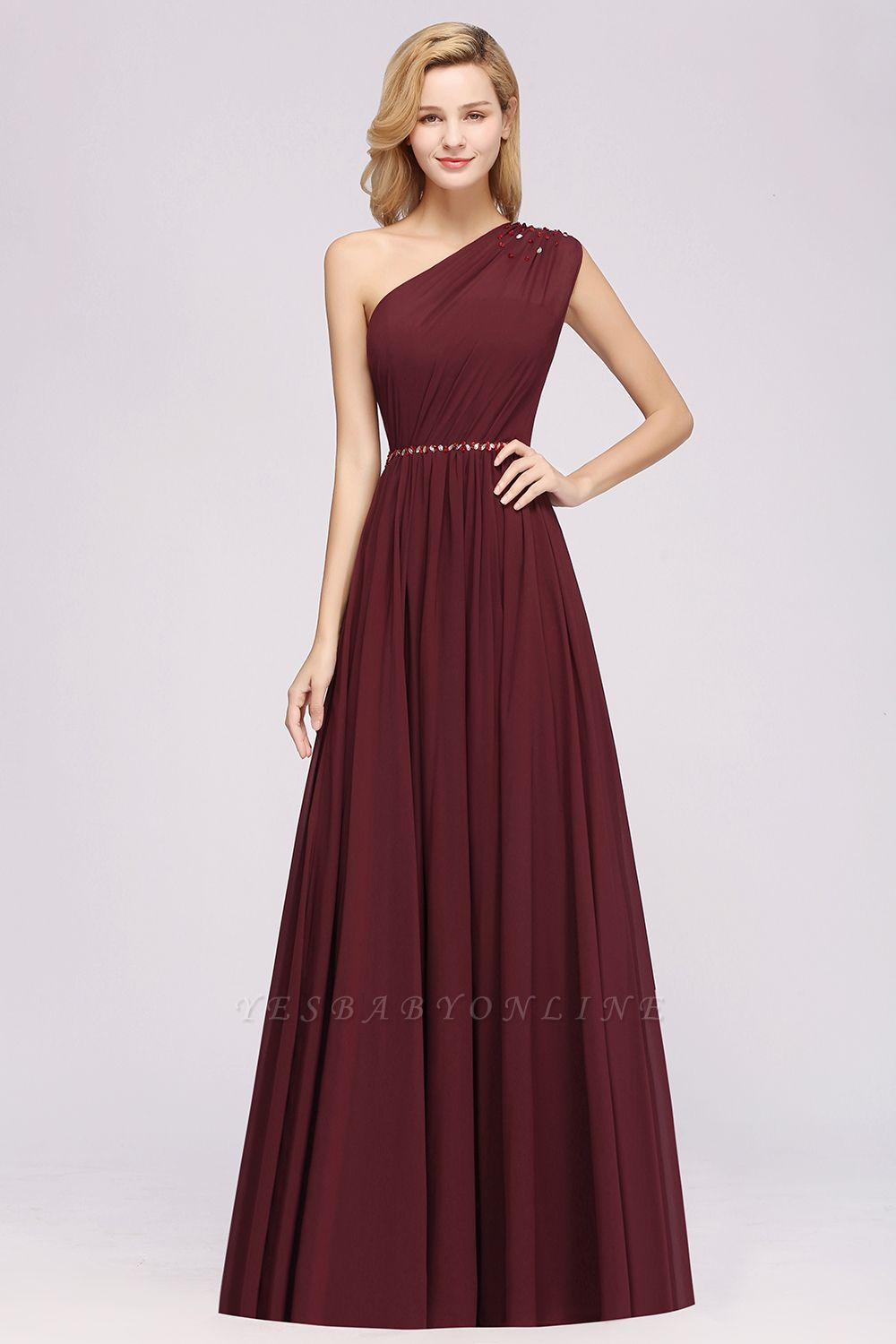 Fashion A-Line One-Shoulder Bridesmaid Dresses | Chiffon Sleeveless Beaded Wedding Party Dresses