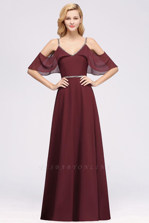 elegant A-line  V-Neck Spaghetti Straps Sleeveless Floor-Length Bridesmaid Dresses with Beading Sash
