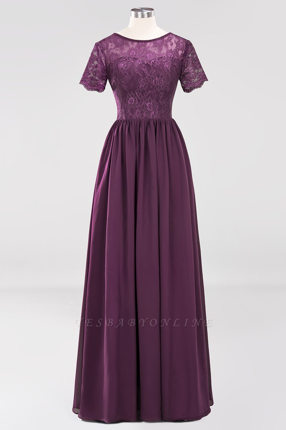 A-line  Lace Jewel Short-Sleeves Floor-length Bridesmaid Dress