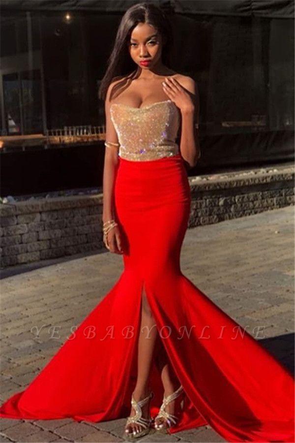 Elegant Strapless Sleeveless Front Slipt Mermaid Prom Dress