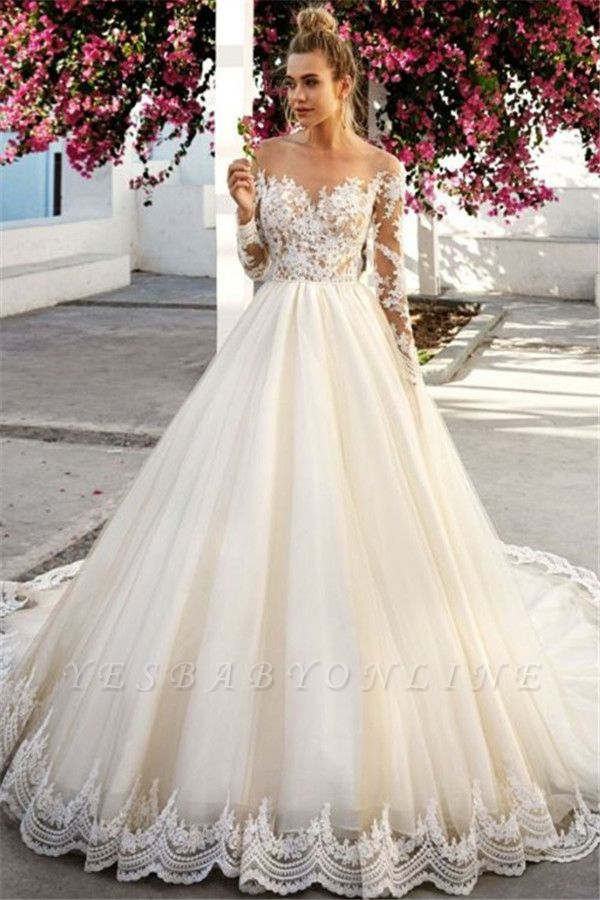 Stunning Off-the-Shoulder A-Line Long Sleeves Appliques Wedding Dress BC0756