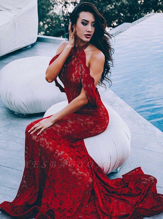Glamorous Appliques Halter Sleeveless Mermaid Floor-Length Prom Dress
