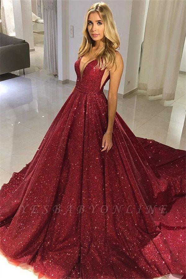Fashion Straps Sleeveless A-Line V-Neck Floor-Length Prom Dress DD0089