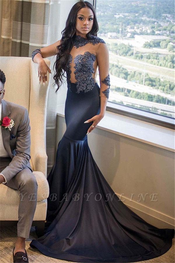 Elegant 3/4 Sleeves Appliques Mermaid Floor-Length Prom Dress