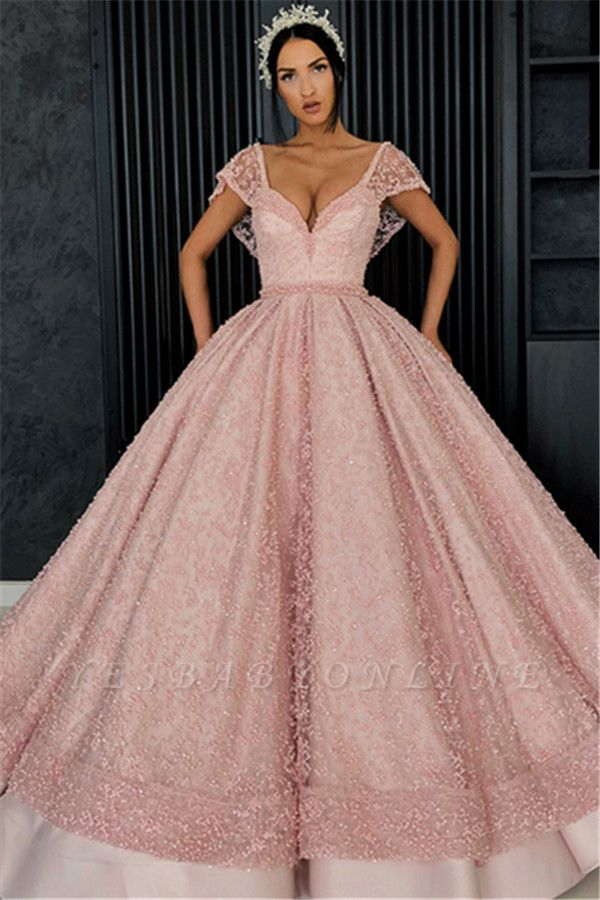 Stunning Cap Sleeves Beading Ball Gown Prom Dress