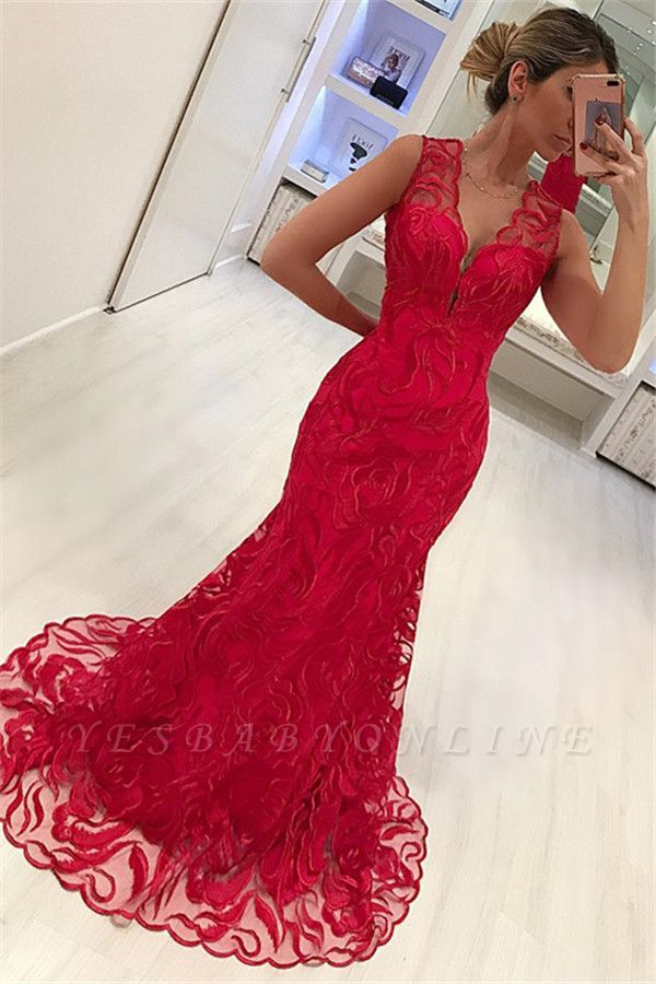 Stylish Straps Sleeveless Appliques V-Neck Mermaid Prom Dress