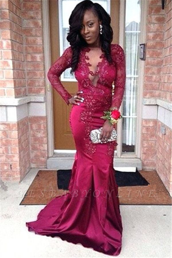 Stunning V-Neck Appliques Long Sleeves Mermaid Prom Dress