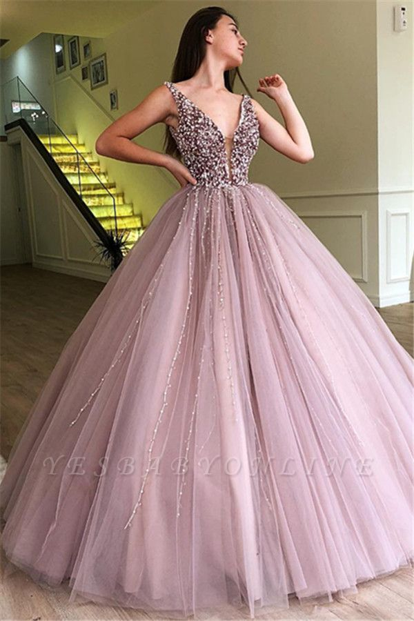 Stunning Straps Sleeveless Beading  Ball Gown Prom Dress