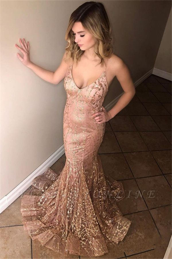 Sexy Sleeveless Spaghetti Straps Floor-Length Mermaid Prom Dress